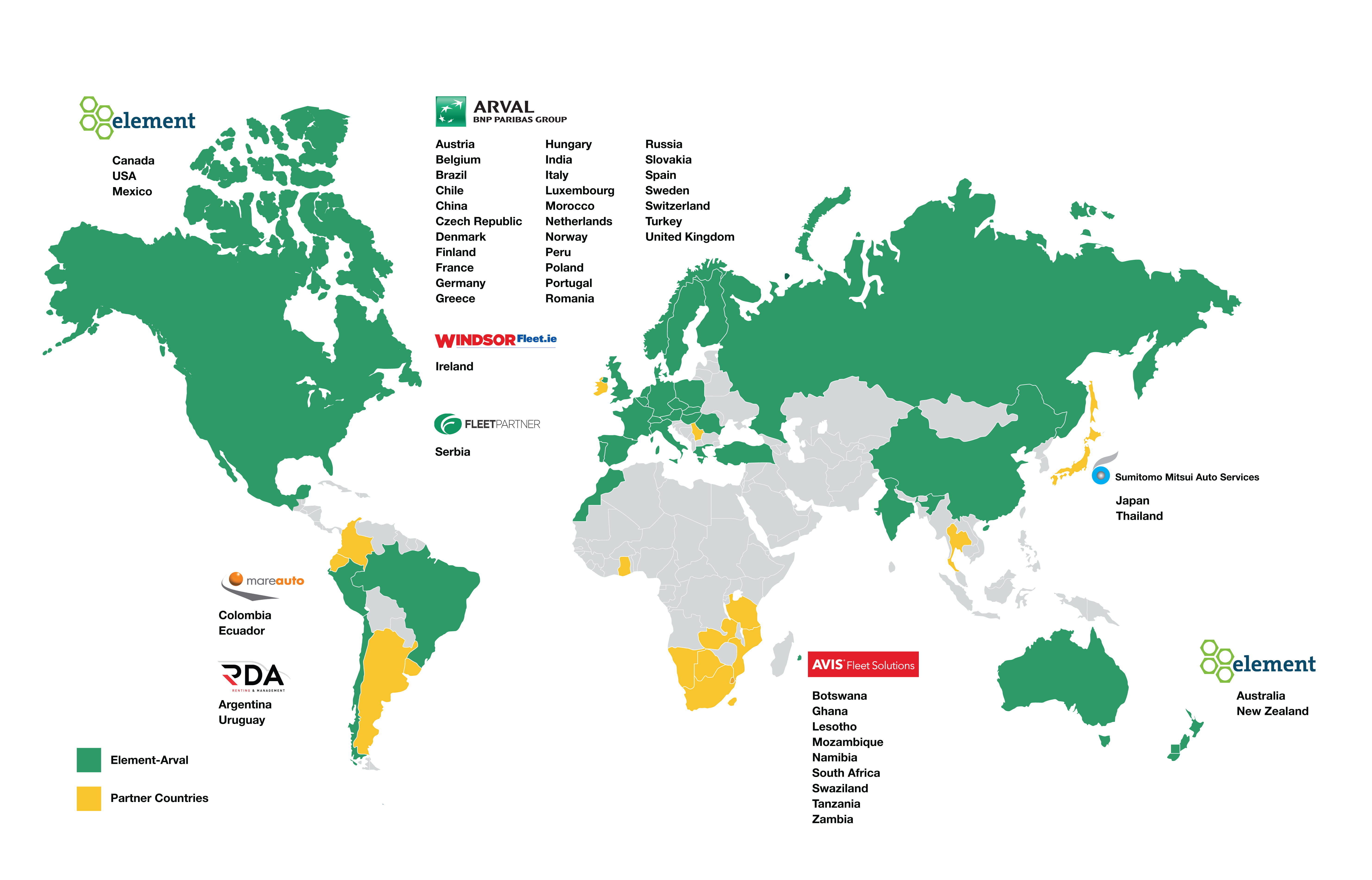 The Element-Arval Global Alliance Coverage Map